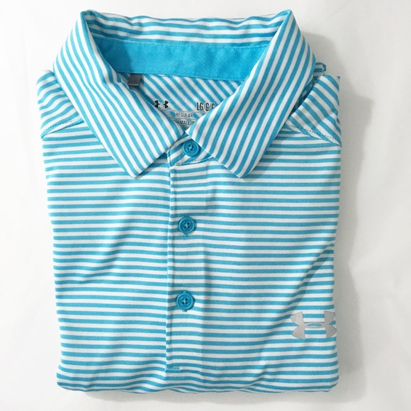 Mens Under Armour athletic medium shirt short sleeve blue stripe heat gear NEW